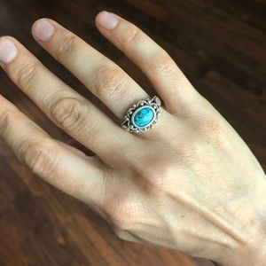 Jewelry - Vintage Sterling Silver Turquoise Ring Boho Retro